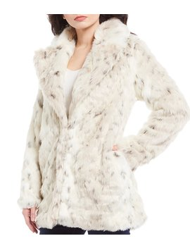 Faux Fur Snow Leopard Print Topper Coat by Gb
