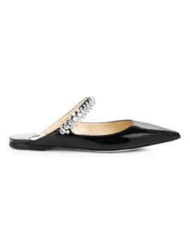 Bing Embellished Patent Leather Flat Mules by Jimmy Choo