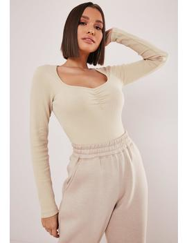 Sand Rib Ruched Front T Shirt by Missguided