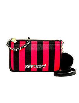 New Nwt Betsey Johnson Hot Pink Black Stripe E/W Logo Crossbody Shoulder Handbag by Ebay Seller