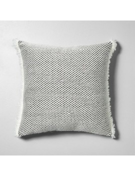 Textured Pillow Gray / White With Fringe   Hearth & Hand™ With Magnolia by Shop Collections