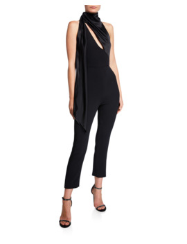 Stretch Cady Halter Neck Jumpsuit by Cushnie