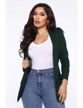 Put In The Work Blazer   Green by Fashion Nova
