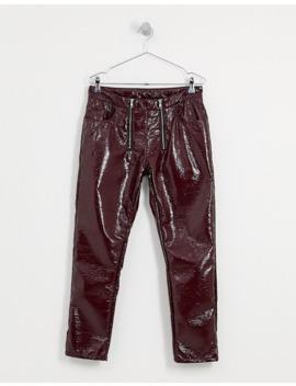 Asos Design Slim Jeans In Burgundy Vinyl With Zip Front by Asos Design
