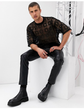 Asos Design Oversized T Shirt With Half Sleeve In Black Lace by Asos Design