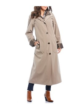Maxi Silk Look Button Front Hooded Rain Coat by Gallery