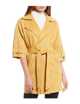 Tracey Faux Suede Tie Waist Trench Style Jacket With 3/4 Length Zipper Accent Sleeves by Gianni Bini