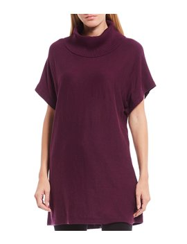 Short Sleeve Cowl Neck Cotton Blend Sweater by Vince Camuto