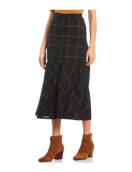 Button Front Woven Plaid Midi Skirt by Chelsea & Violet