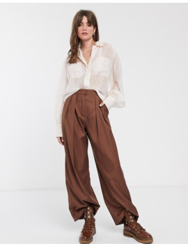 & Other Stories Sheer Pocket Detail Blouse In Beige by & Other Stories