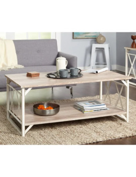 Reclaimed Style Grey Coffee Table With Double 'x' Frame   Reclaimed/Weathered   White by Simple Living