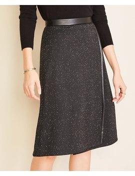 Faux Leather Trim A Line Wrap Skirt by Ann Taylor