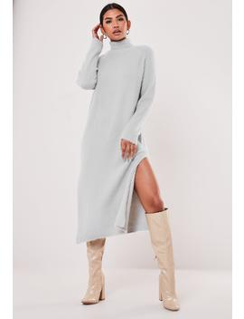 Gray Fluffy Knitted High Neck Midaxi Dress by Missguided