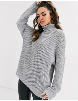 Missguided Roll Neck Sweater With Cable Sleeves In Gray by Missguided's