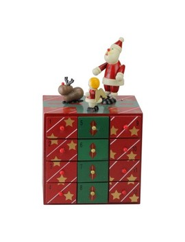 "Northlight 10"" Red And Green Decorative Elegant Advent Storage Calendar Box by Northlight"