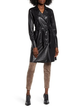 Faux Leather Trench Coat by Blanknyc