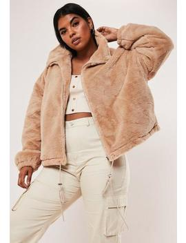 Plus Size Camel Cropped Faux Fur Bomber Jacket by Missguided