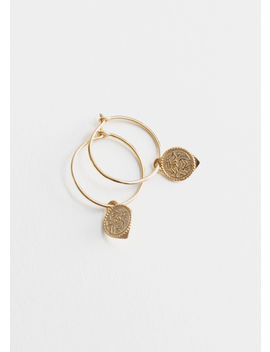 Engraved Pendant Mini Hoop Earrings by & Other Stories