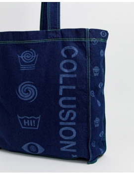 Collusion Printed Denim Oversized Tote Bag by Collusion