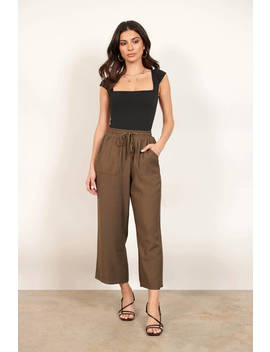 Once Again Olive Cropped Wide Leg Pants by Tobi