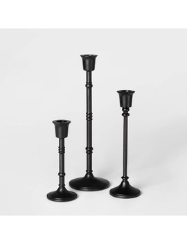 3pc Taper Candle Holder Set Black   Threshold™ by Shop Collections