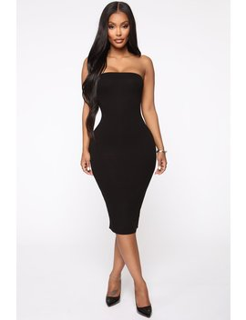 Take It Easy Tube Midi Dress   Black by Fashion Nova