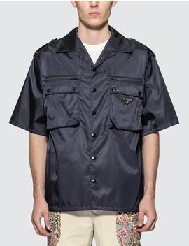 Nylon Utility Pocket Short Sleeve Bowling Shirt by Prada