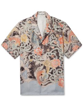 Camp Collar Printed Silk Twill Shirt by Valentino