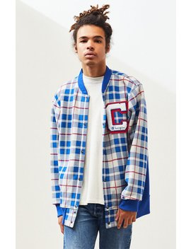 Champion Plaid Baseball Jacket by Pacsun