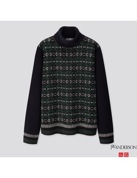 Men Premium Lambswool Jacquard Turtleneck Sweater (Jw Anderson) by Uniqlo
