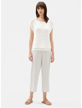 Organic Cotton Nylon Tape Bateau Neck Top by Eileen Fisher