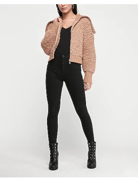 Sherpa Zip Up Sweater by Express