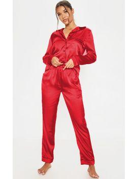 Prettylittlething Red Satin Pocket Long Pyjama Set by Prettylittlething