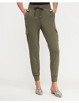 Mid Rise Cozy Marled Cargo Pocket Jogger Pant by Express