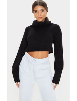 Black Roll Neck Cropped Sweater by Prettylittlething