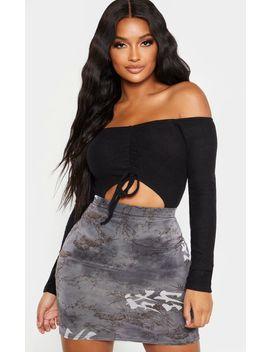 Shape Black Brushed Rib Bardot Ruched Bodysuit by Prettylittlething