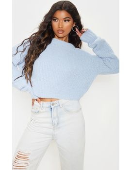 Blue Textured Soft Knit Crop Sweater by Prettylittlething