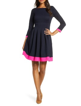 Dot Textured Fit & Flare Dress by Eliza J