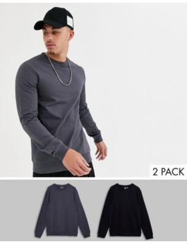 Asos Design Muscle Sweatshirt 2 Pack Black / Washed Black by Asos Design