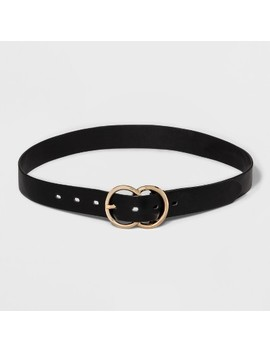 Women's Double Buckle Belt   A New Day™ Black by A New Day