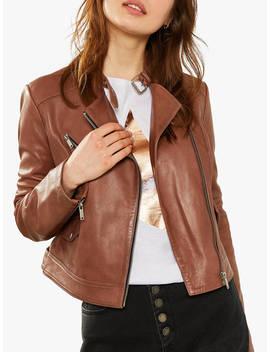 Mint Velvet Leather Biker Jacket, Tan by Mint Velvet