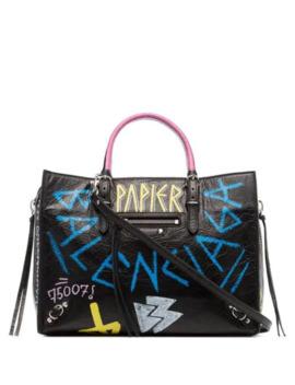Black Paper Graffiti Leather Bag by Balenciaga
