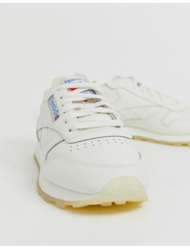 Reebok Classic Leather Sneakers In White And Chalk by Reebok