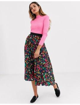 Twisted Wunder Pleated Midi Skirt In Black Based Multi Print by Asos