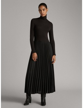 Pleated Turtleneck Dress by Massimo Dutti
