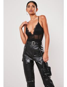 Tall Black Lace And Mesh Panel Bodysuit by Missguided