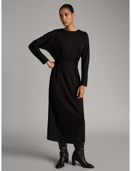 Belted Black Dress by Massimo Dutti