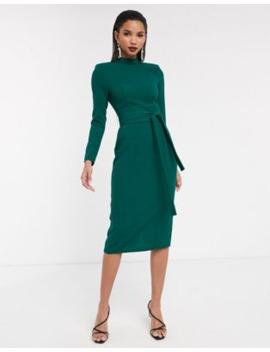 Asos Design Long Sleeve Midi Dress With Obi Belt by Asos Design