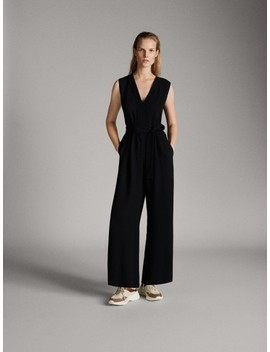 Black Jumpsuit With Belt by Massimo Dutti