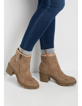 Rianna Sherpa Trim Ankle Bootie by Maurices